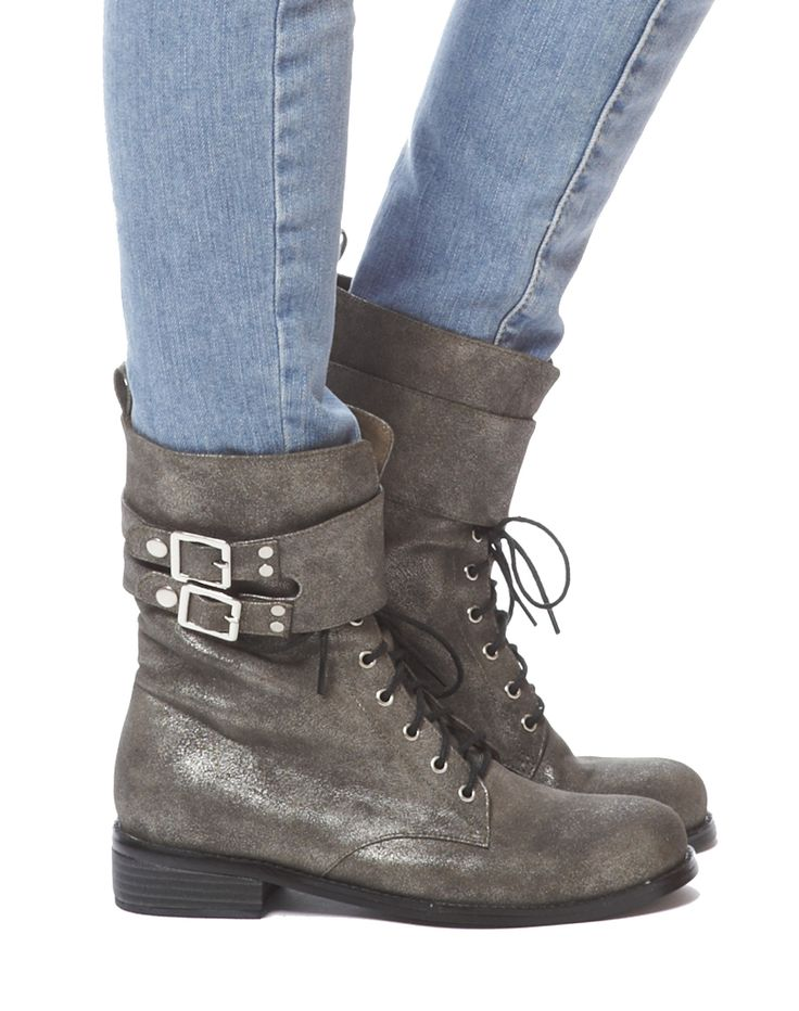 Demi Laceup Buckle Boot - Silver, $128 at   Cri de Coeur