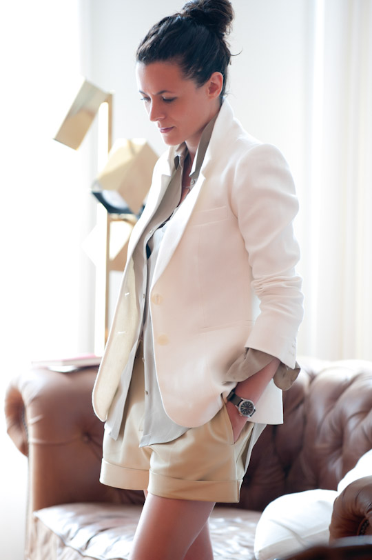 This clean, unbuttoned style whispers relaxation and ease while maintaining a fashion-forward look. The muted earth tones add to the effortlessness of the style.  The layers add-on elegance while the openness of the cuffs and collars sighs tranquility. (from:  thecoveteur.com )