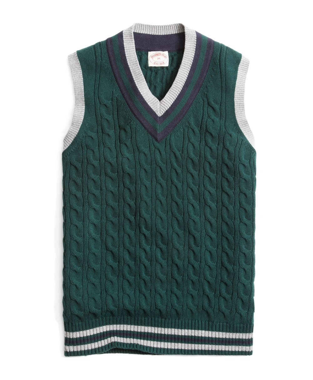 "I'm a sucker for Brooks Brothers, yes, it' true. However, this vest caught my eye while flipping through their sale items. I've stopped wearing sweater vests (not a real reason why, I think I grew out or argyle) but this ""cricket vest"" is stunning. 