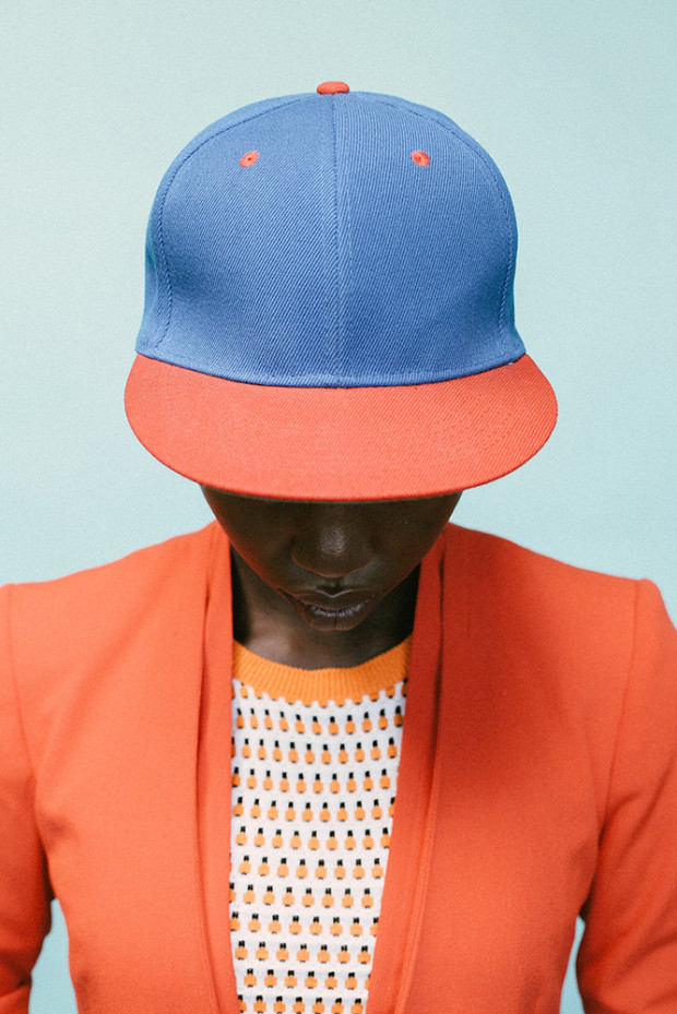 Look at those colors! And that classic baseball cap. Giannina Antonette photographed by Adriaan Louw, with styling by Marica Smit | From:  10and5.com