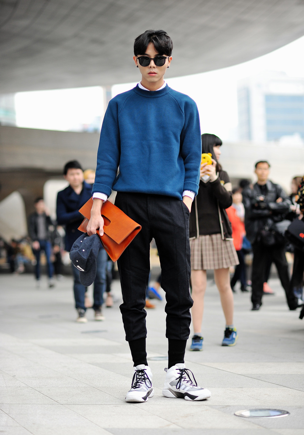 The man clutch combined with this streetwear style is everything I want. Joo Woo Jae photographed BY K.H.J | From:  relation2013.tumblr.com
