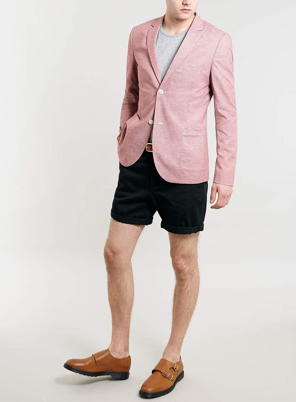 Burgundy Neppy Oxford Skinny Fit Blazer, $120 at Topman