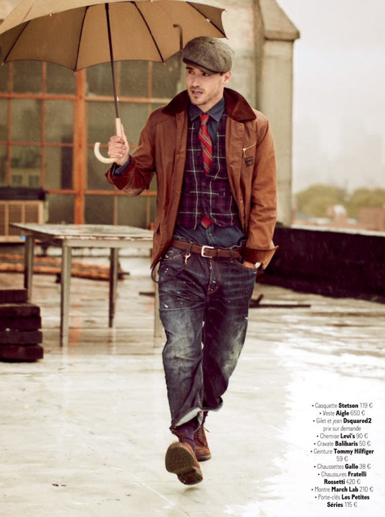 This look is rocking the smart-street genre mixing that is becoming more popular, executed with more of a workwear flair. From: derriuspierre.com
