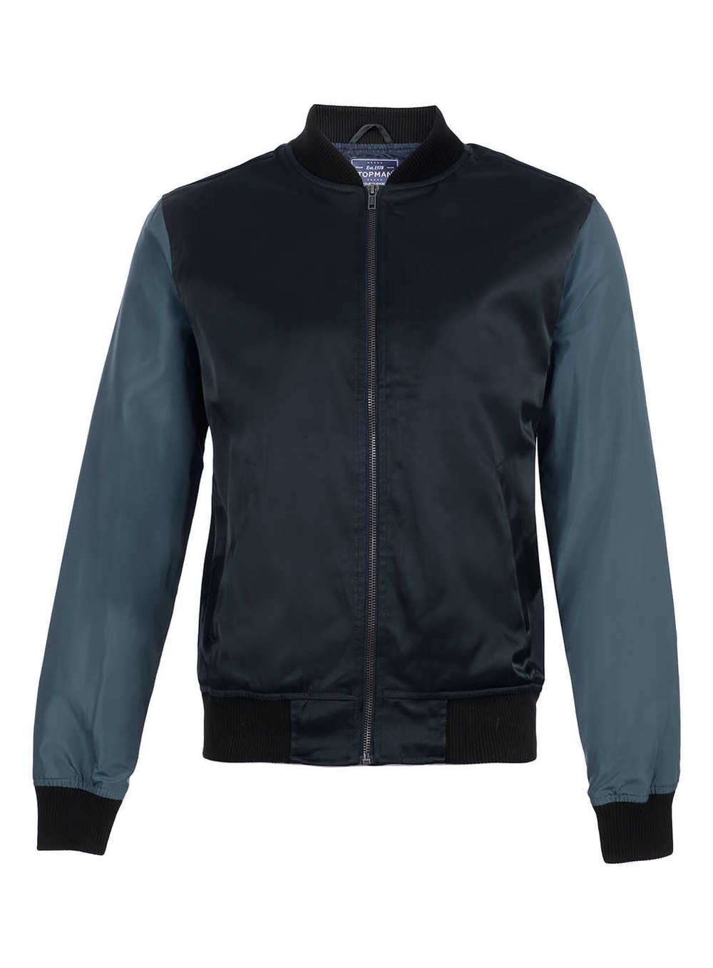 Navy Contrast Sleeve Bomber Jacket, now $50. See Courtney wearing a similar one!