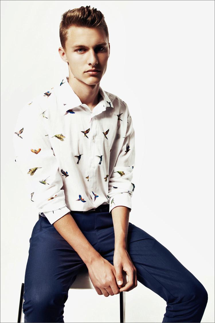 Model Bartek byKrzysztof Waszakwith an Alexander McQueen bird shirt