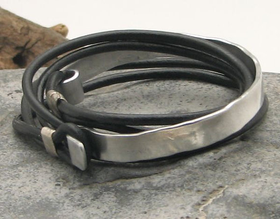 Black leather wrap men's bracelet with hammered metal work clasp and spacers, $33 on Etsy