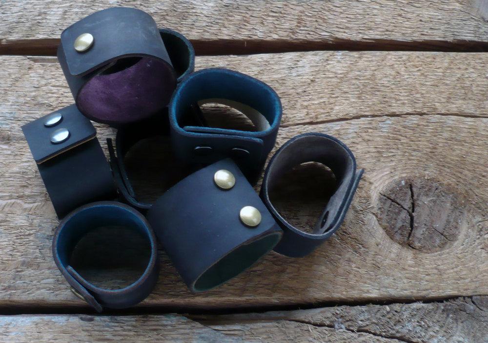 Black Leather Cuff- Unisex Leather Bracelet, $10 on Etsy