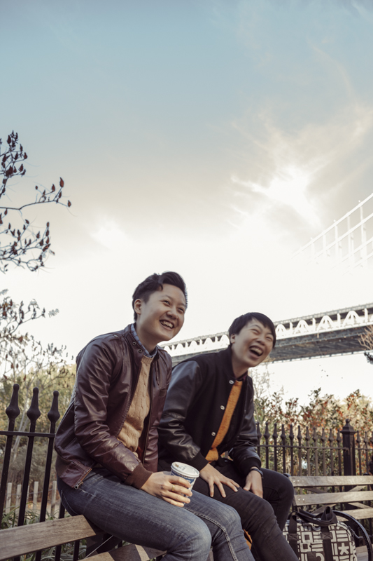 """Leather jacket + Sweater + best friend = Best day ever!"" Models: Wen and Sinru / Photographed by Bo"
