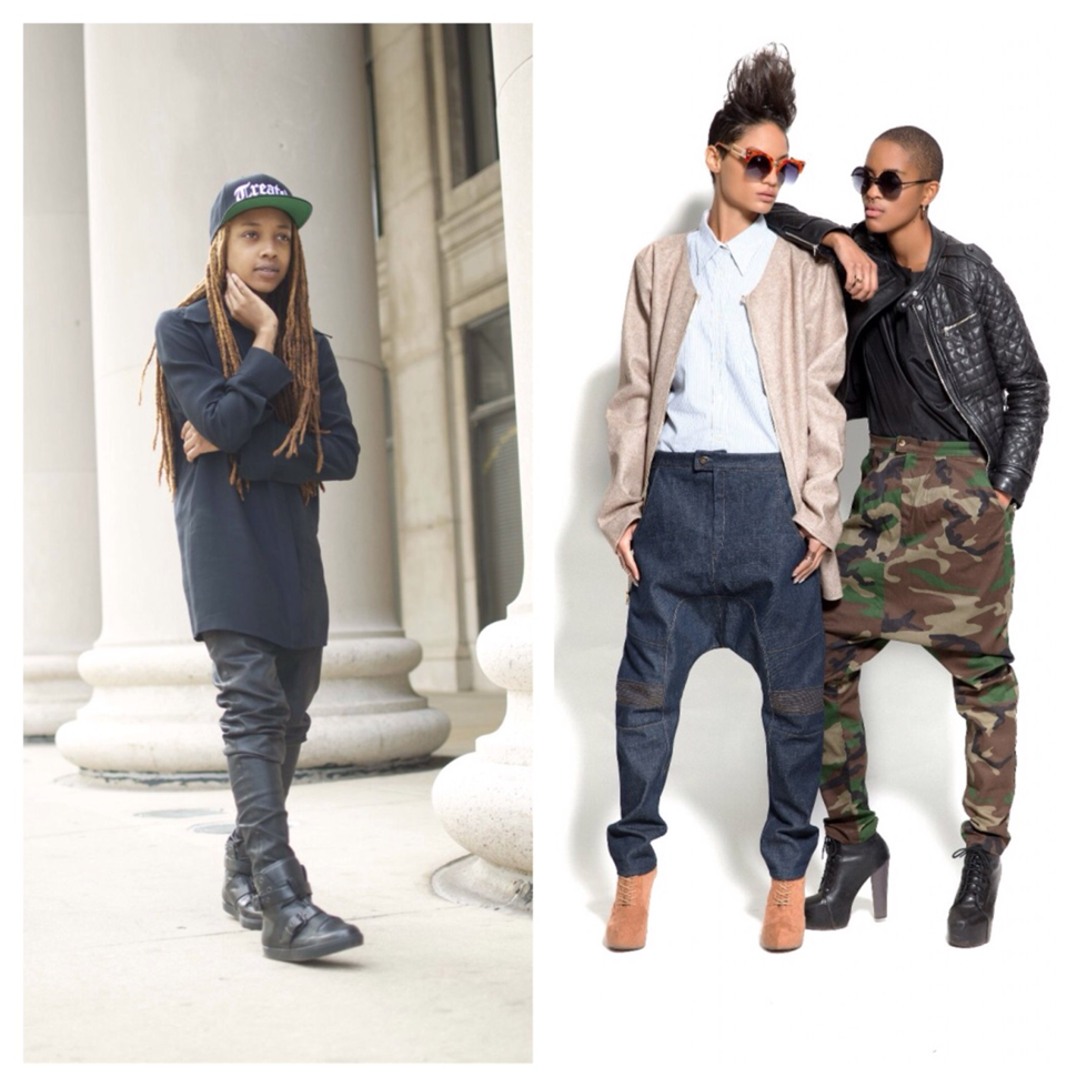 Designer Sheila Rashid (left) and models wearing her signature drop-crotch pants (right). Images courtesy Sheila Rashid.