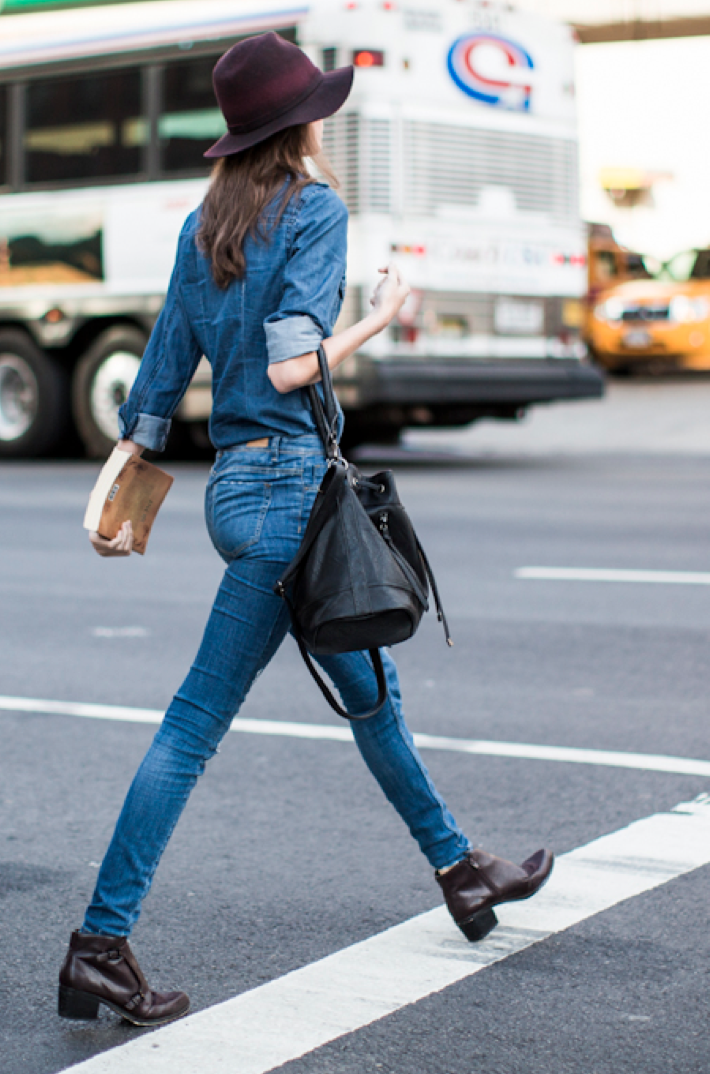 Denim on denim, girl on the move. From:  stylestreetfashion.tumblr.com