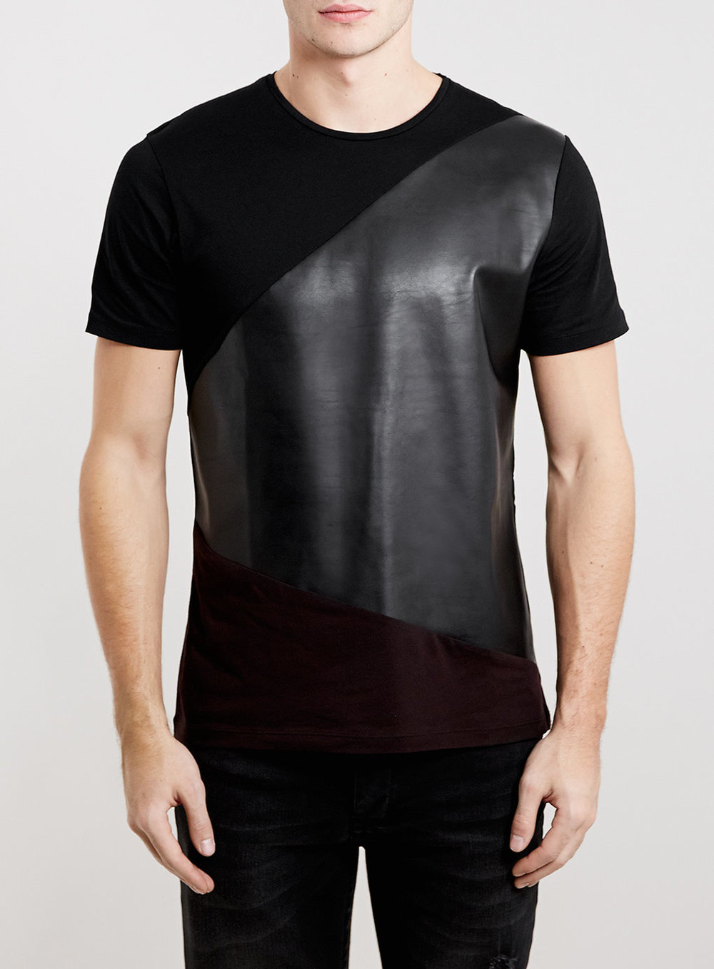 Topman Burgundy Leather Look Panel T-Shirt    $40.00