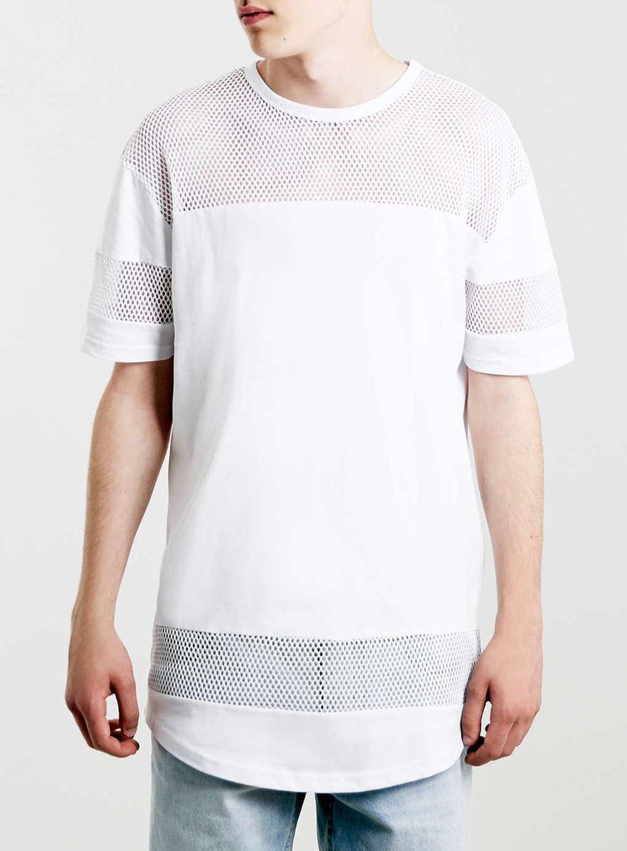 White Mesh Longline T-Shirt $45