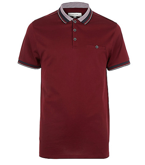 DARK RED CONTRAST TIPPING POLO SHIRT    Was  $36.00   NOW  $28.80