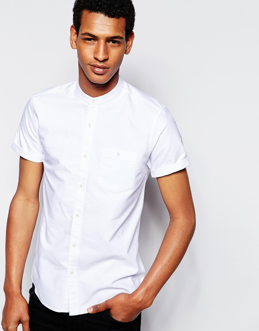 ASOS Oxford Shirt In Short Sleeve With Grandad Collar $33.00