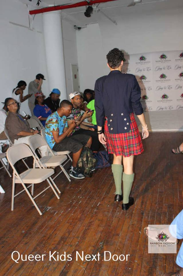 Yvonne Trapp modeling Ru's Kilt piece and  Topman Ray Black Leather Derby Shoes