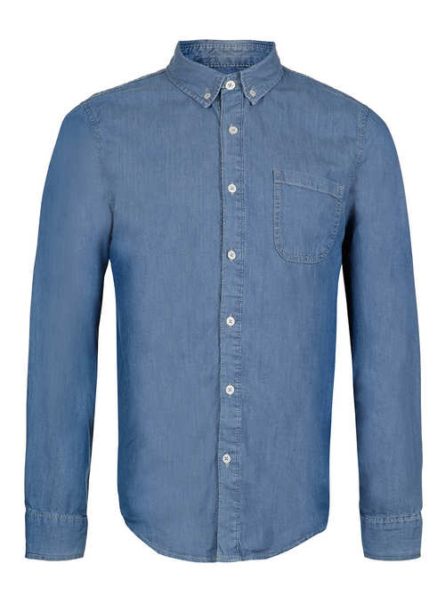 Topman Light Blue Long Sleeve Denim Shirt , $50