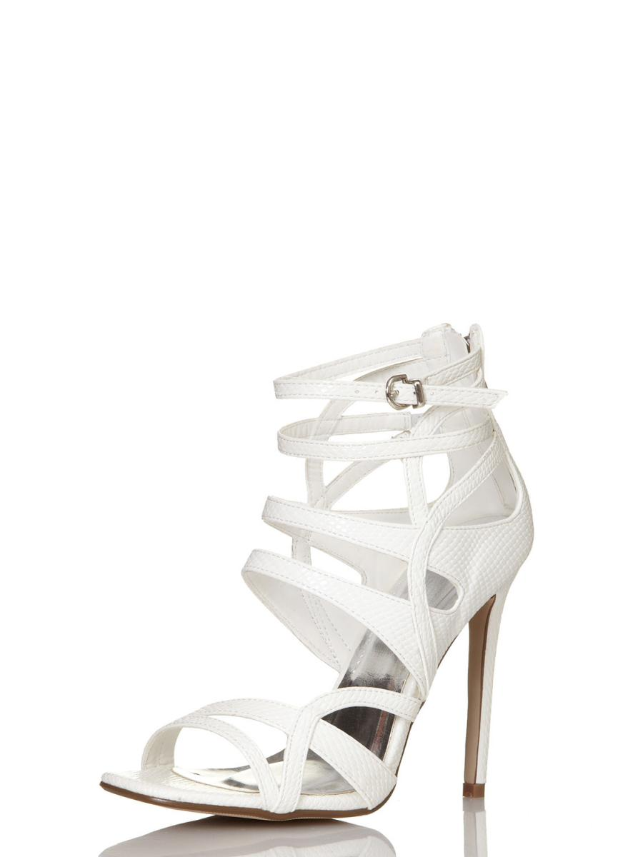 White Lizard Cut Out Strap Sandals