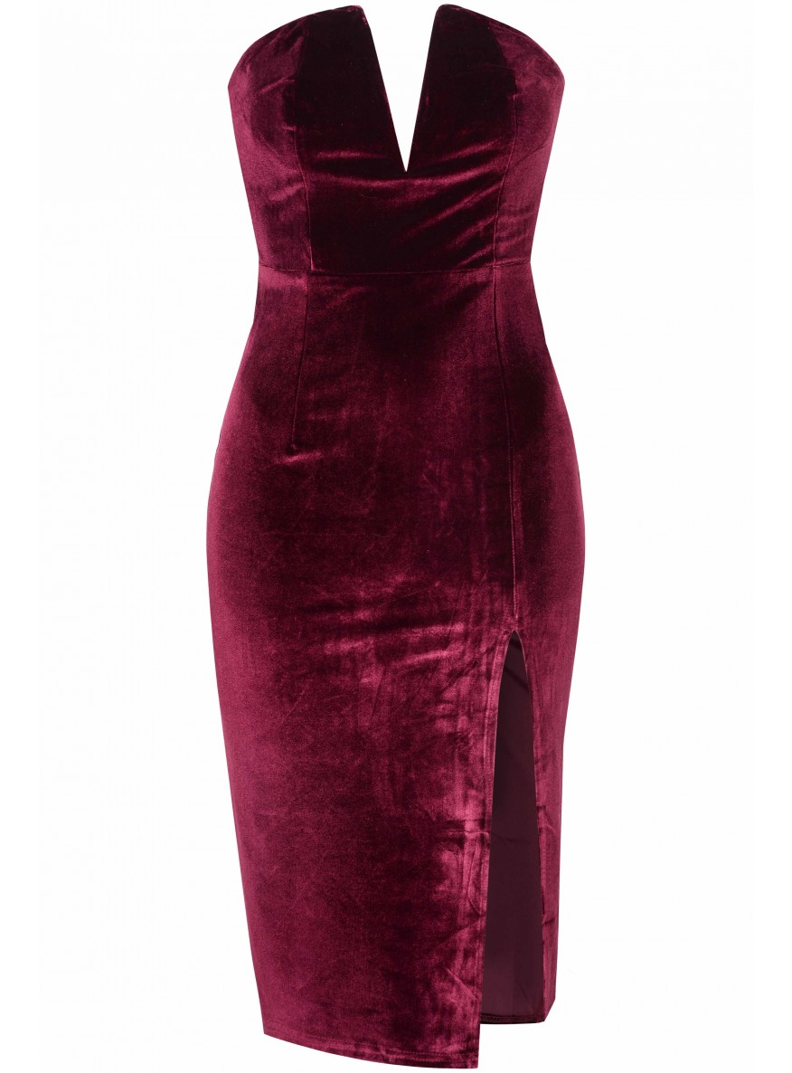 Burgundy Velvet Bandaeu Bodycon Dress