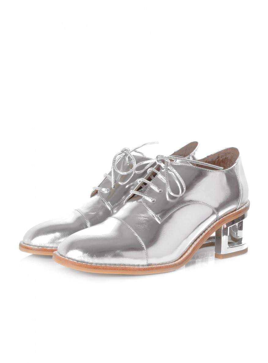 Jeffrey Campell Egan Silver Lace Up Shoes with Cut Out Heel