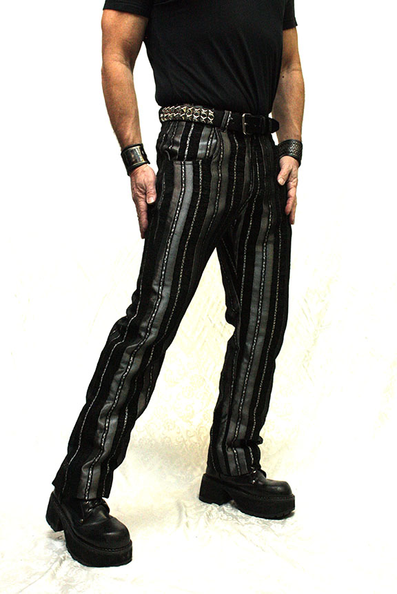 ICTORIAN STRIPED CARNY PANTS - SILVER/BLACK, $110.00 at  hshrinestore.com