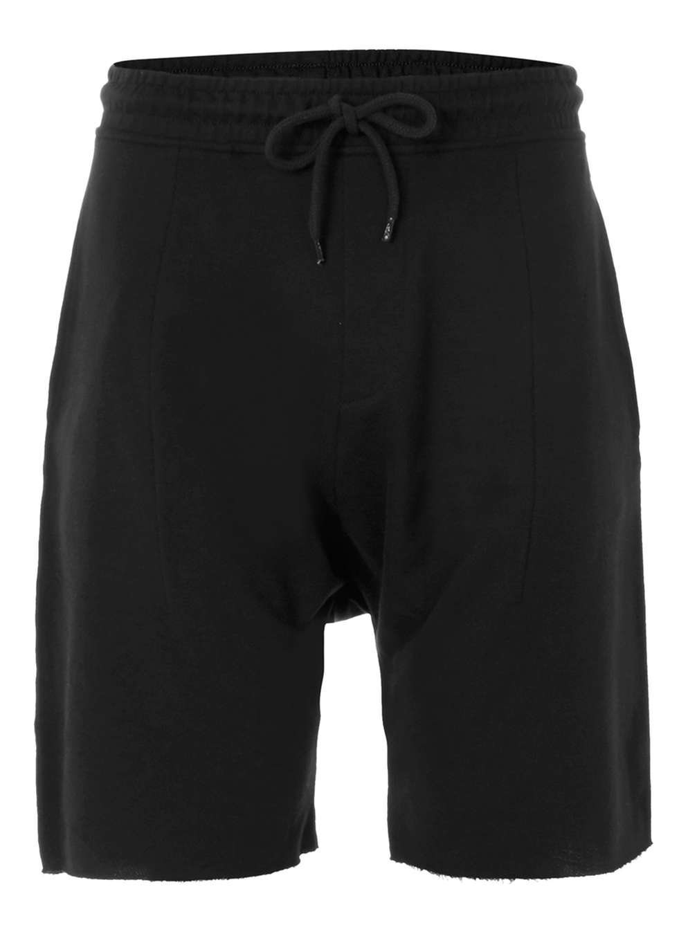 Black Drop Crotch Jersey Shorts