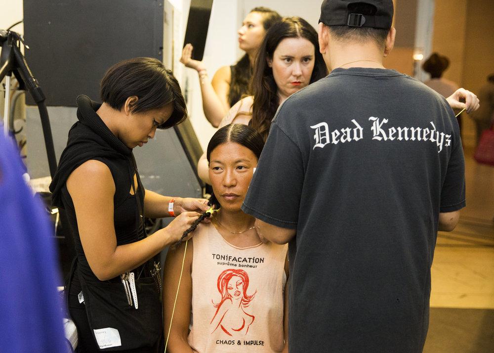Backstage prep with Model Karen B Song
