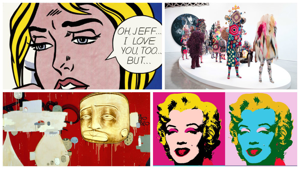 """From top left:  Roy Lichtenstein """"Oh, Jeff…I Love You, Too…But…"""" (1964) / Nick Cave / Barry McGee """"The Buddy System""""(1999 ) / Andy Warhol Marylin Series (1967)"""