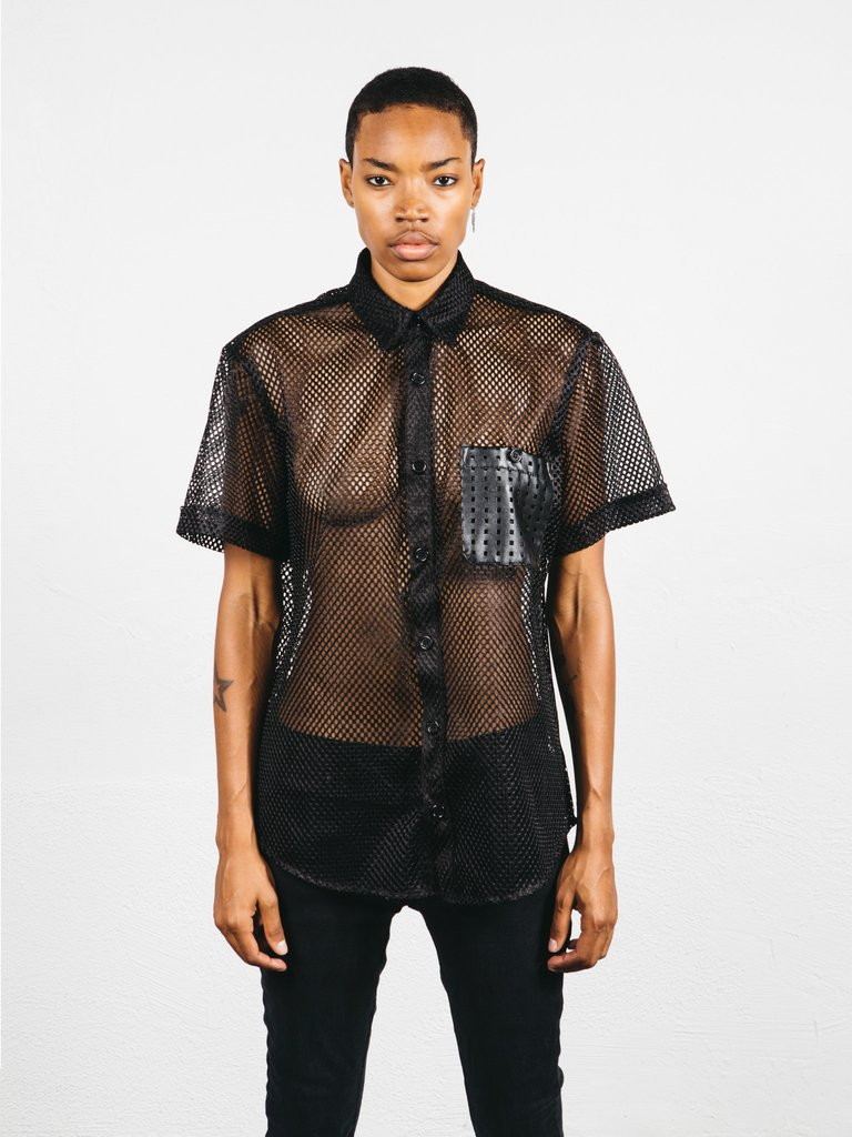 BLACK MESH BUTTONDOWN - $75.00