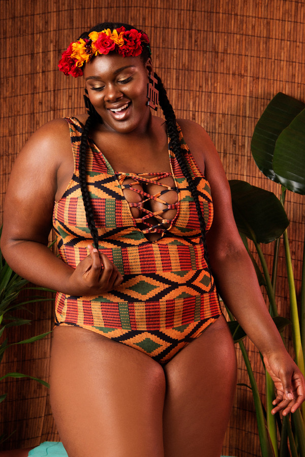 KENTE LACE UP SWIMSUIT - $88.00 USD
