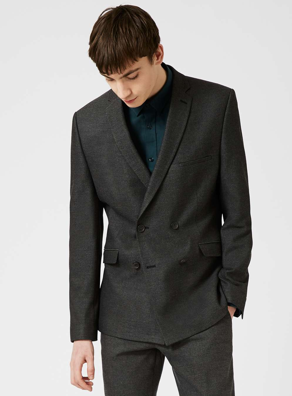 SELECTED HOMME Grey Textured Double Breasted Suit Jacket at Topman