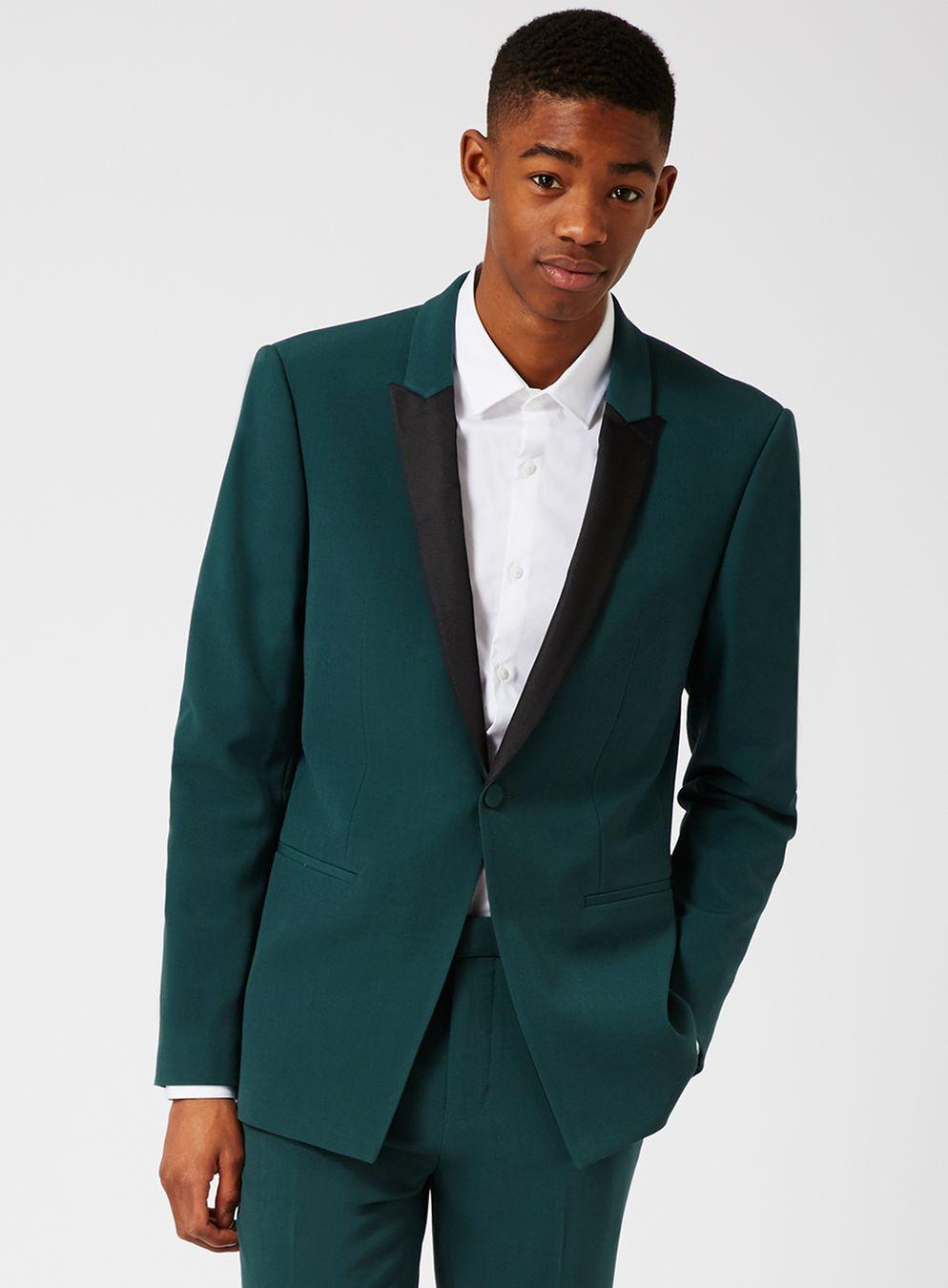 T  opman Teal Skinny Fit Tuxedo Jacket
