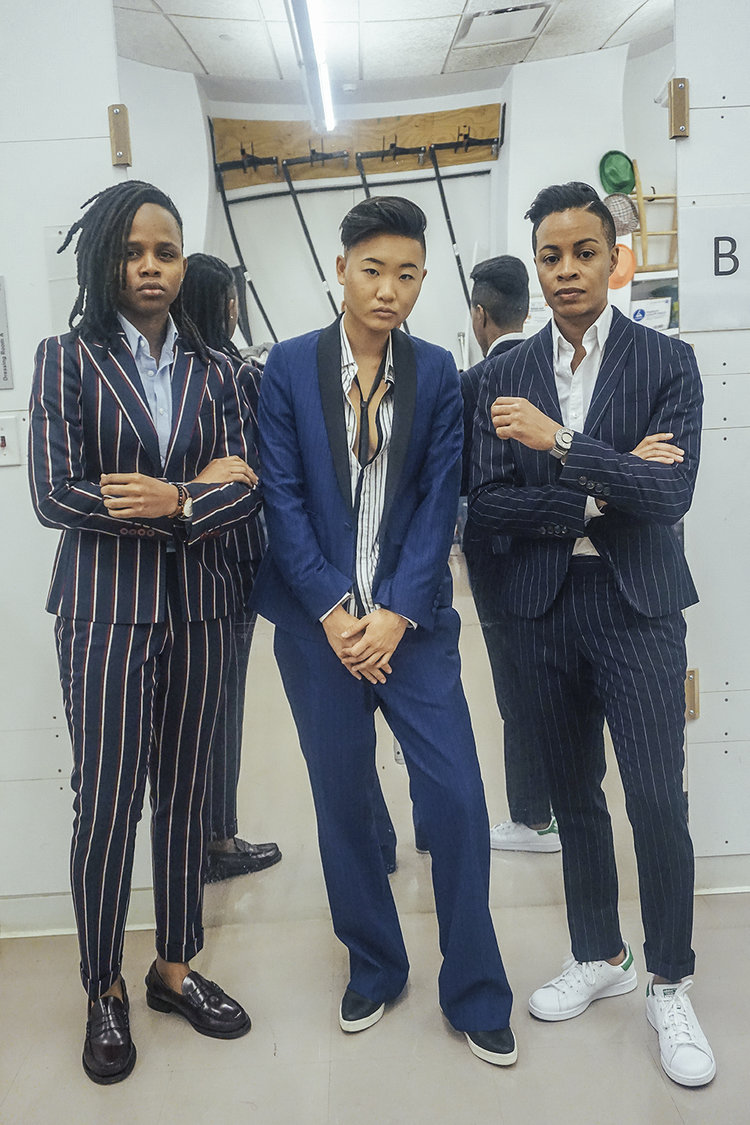 If you're not into lots of bling, you can always go open collar! Or you can try a thin tie like the person in the middle has. Photo by  Jaypix  from  dapperQ's iD fashion show .