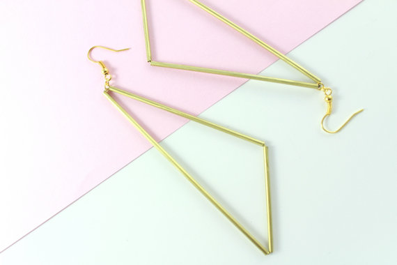 Geometric Brass Tube Earrings from LinaColours on Etsy