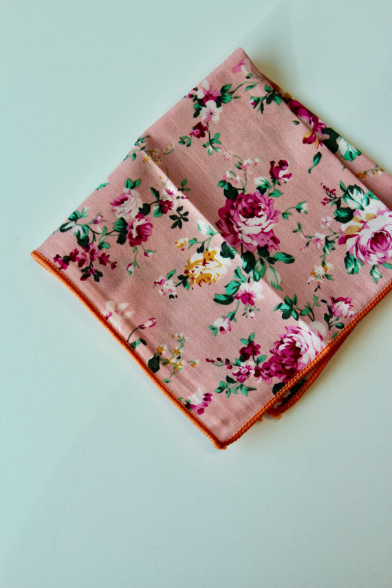 Pink Floral Pocket Square by FloralTieOnline on Etsy