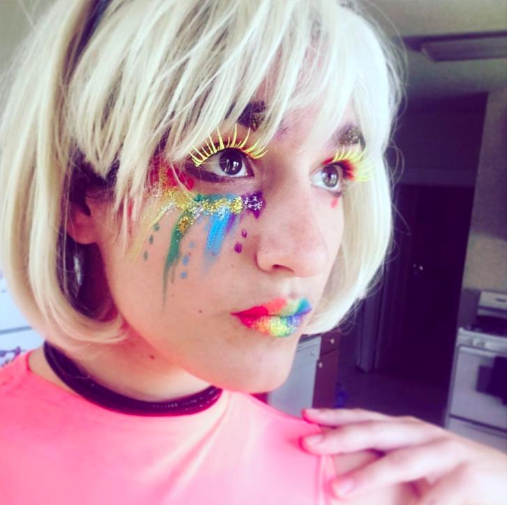 "e.stein : ""Happy pride!  #pridemonth   #facepaint  #nolapride   #rainbow """