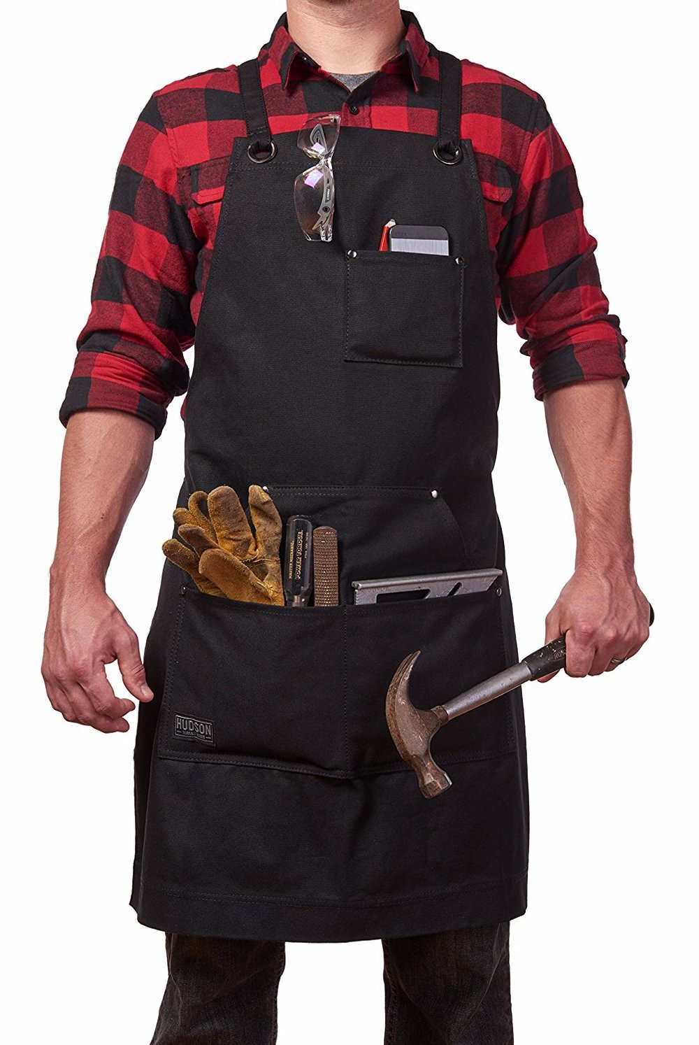 Hudson Durable Goods - Heavy Duty Waxed Canvas Work Apron with Tool Pockets (Black),$31.95