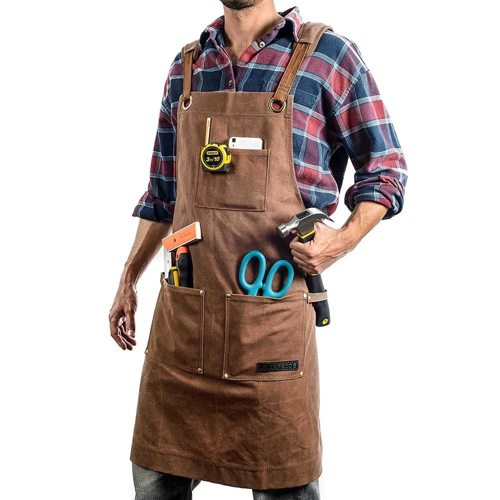 EVERPRIDE Waxed Canvas Work & Tool Apron (Heavy-Duty) All-Purpose Utility Coverall,$39.99
