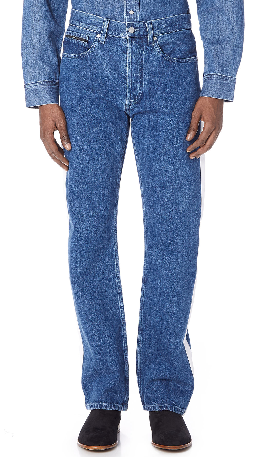 Calvin Klein Hi Straight Tapered Stripe Jeans  (Cut off the bottoms yourself!)