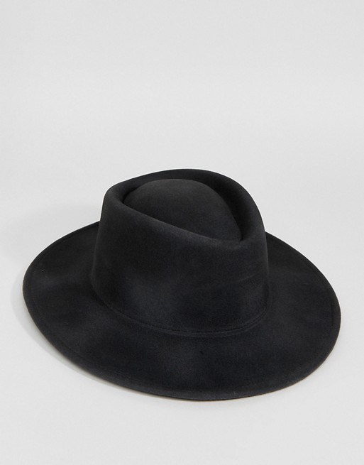 ASOS Wide Brim Pork Pie Hat In Black With Distressing