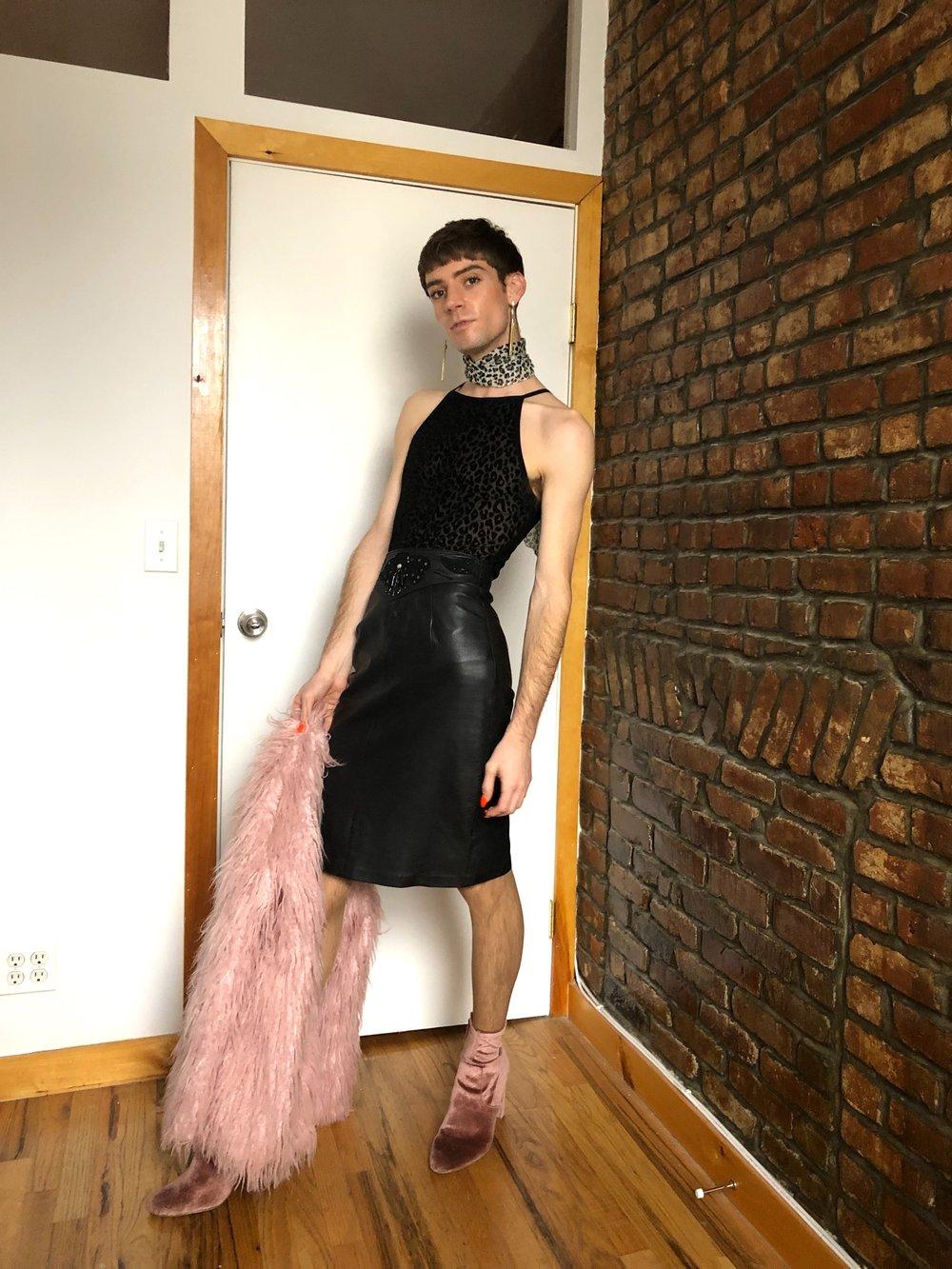 Leopard & Leather - Model: Trevor HildebrandEarrings: Unknown, thriftedNeck Scarf: Vintage, Purchased in BerlinBodysuit: Forever 21Skirt: BagatelleJacket: Some Days LovinShoes: Steve Madden