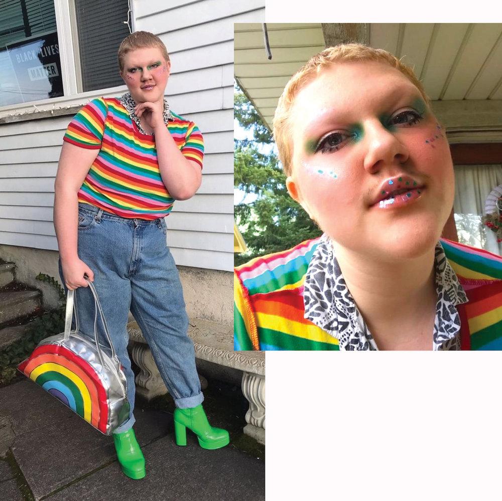 RainbowRealness - Model: RobbieUndershirt: ThriftedRainbow Shirt: Forever 21Bag: Forever 21Pants: Levi'sBoots: Current Moods Slime Booties