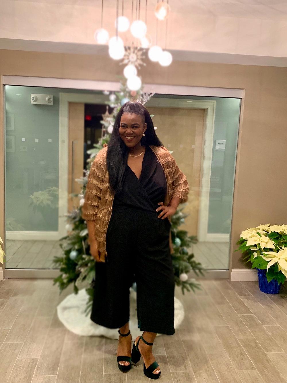 Hollywood Shimmer - Model: CarineJumpsuit: LoftFringe Jacket: Roaman's Shoes: Nine West