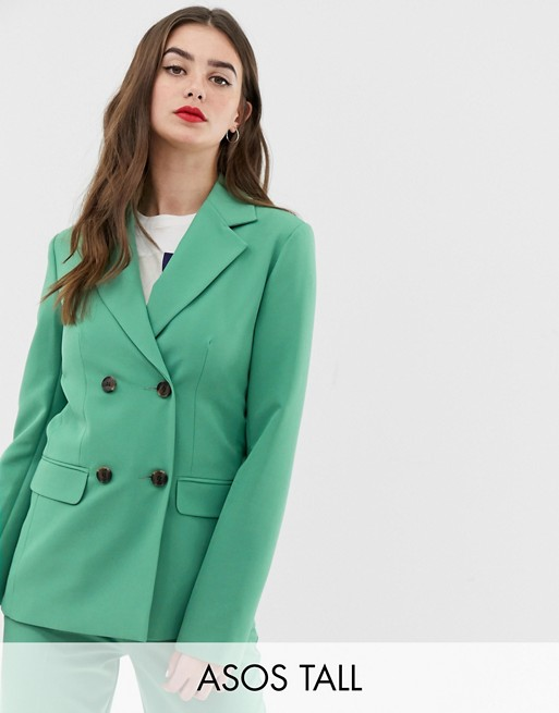 ASOS DESIGN Tall double breasted suit blazer in sage