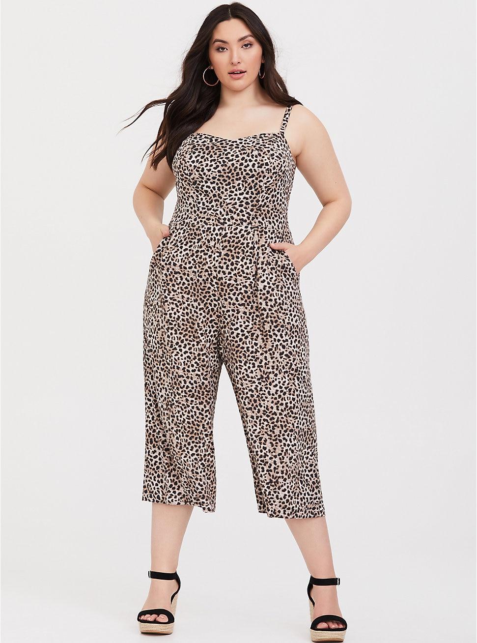 Torrid Leopard Challis Crop Wide Leg Jumpsuit