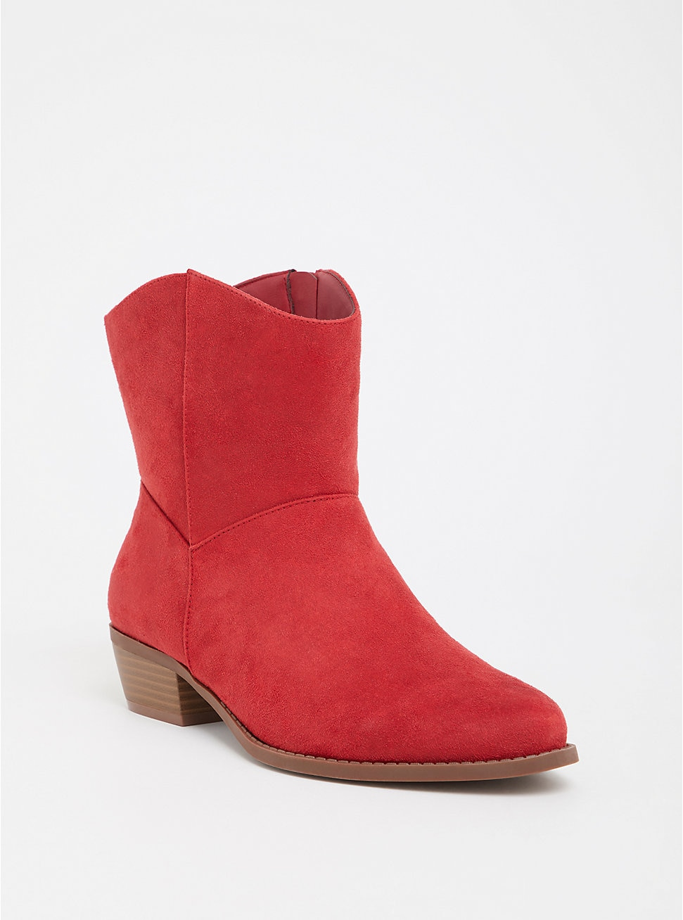 Torrid Red Faux Suede Cowgirl Bootie (Wide Width)