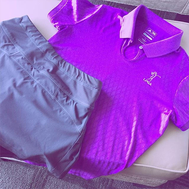 Day 2 outfit. Love this purple shirt from @adidasgolf. Skirt by @athleta. #lpga #golf #amyrogers #blog #adidas #athleta