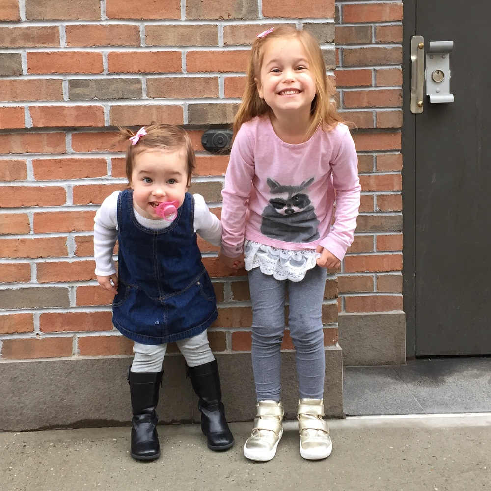 On their way to drop Ava off at school. It was so warm, they didn't even need coats for the 10 step commute.