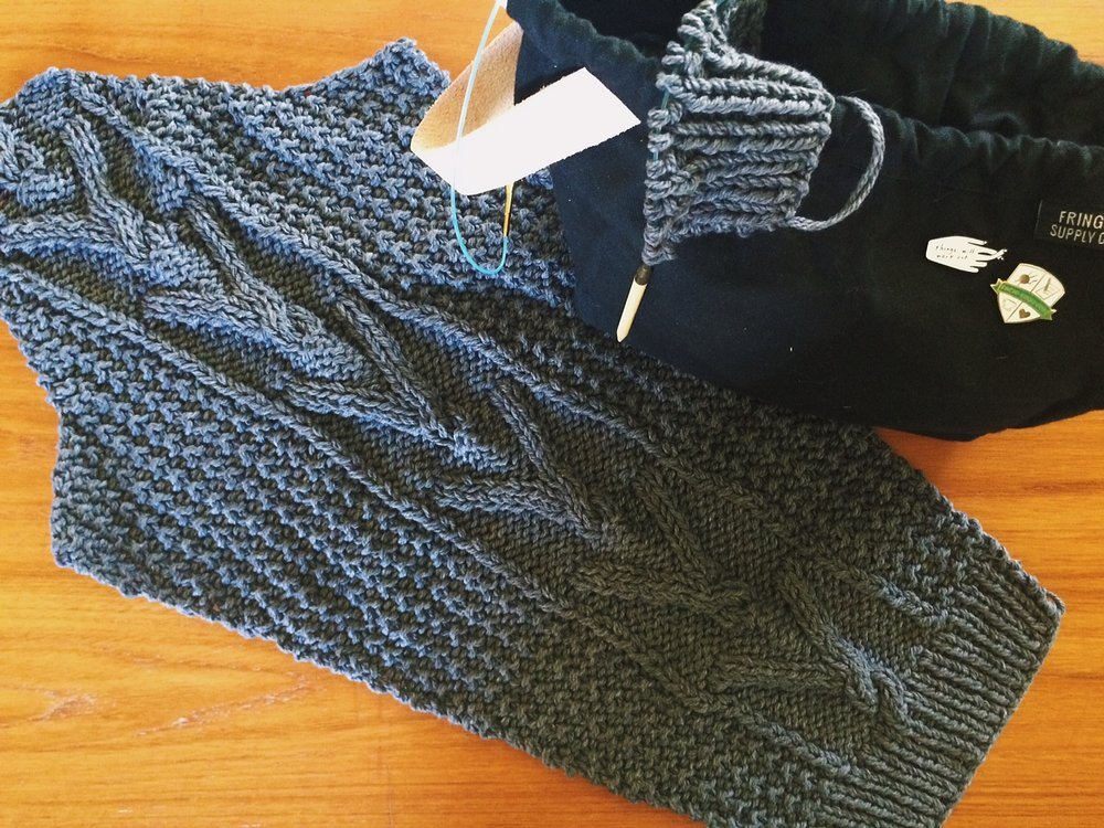 my in-progress Bellows Cardigan