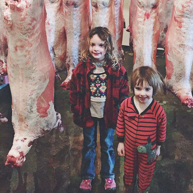 Ranch school field trip - JJ and Tiny went with Brian last week to check on the last round of lamb hanging in the abattoir (such a pretty name for a slaughterhouse!) where we harvest (another prettier word as an alternative to butcher) our animals.  We like to be as much a part of the process as possible and are very lucky to have a team of great people involved in this part with us who care about our animals as much as we do.  #navajochurro #grassfedlamb #ranchschoollessons