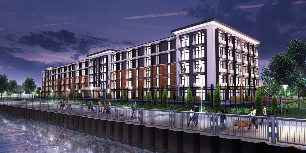 Conceptual design and rendering of exterior from the Detroit river